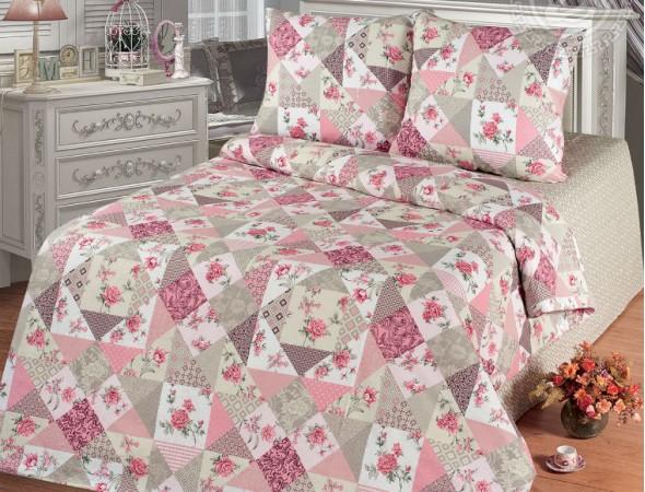 Постельное белье из бязи Лоскутная мозаика розовая Евроразмер